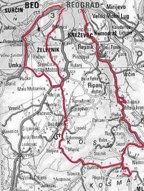 kosmaj mapa Prva prava posleratna Kosmaj kosmaj mapa
