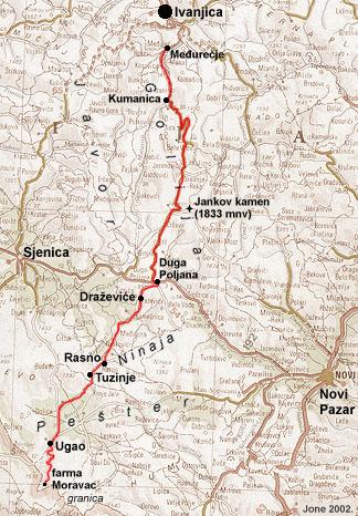 ivanjica mapa Ivanjica, Golija, Duga Poljana   mapa, profil visina ivanjica mapa