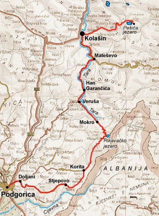 berane mapa Berane, Bjelasica, Kolašin   mapa, profil visina berane mapa