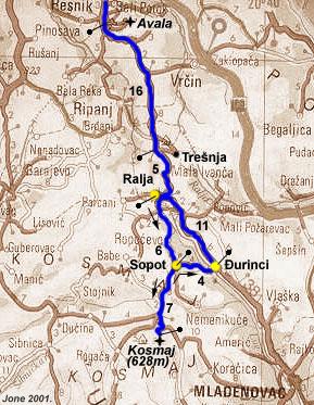 kosmaj mapa Draganin Kosmaj kosmaj mapa