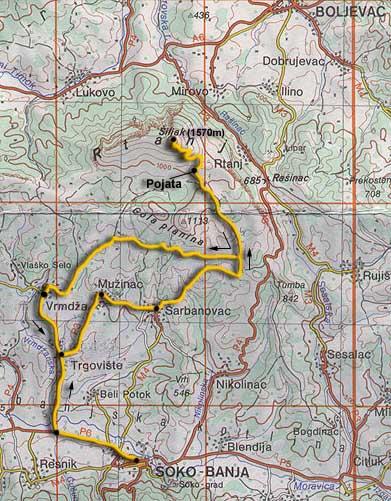 rtanj mapa Rtanj   mapa, profil visina rtanj mapa