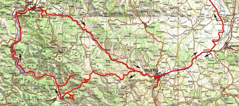 trsic mapa Po valjevskim planinama i uz Drinu trsic mapa