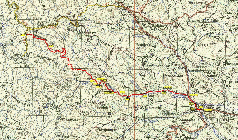 krupanj mapa Ruta 4: Krupanj   Zmajevac   Turski grobovi krupanj mapa