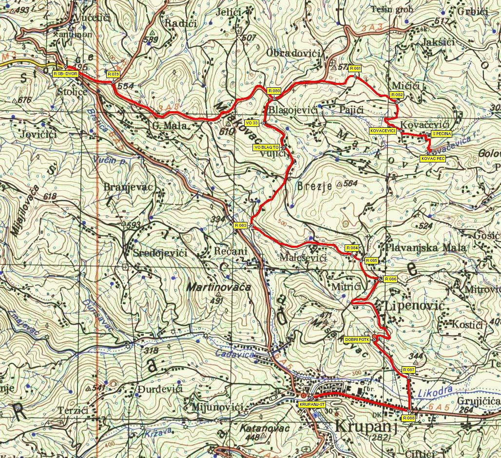 krupanj mapa Ruta 5: Stolice   Kovačevića pećina   Dobri Potok   Krupanj krupanj mapa